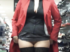 Lady flashes crotch at the shop for horny friend
