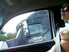 Wife demonstrates her perky tits to the trucker