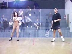Strip racquetball with a babe that loves the attention